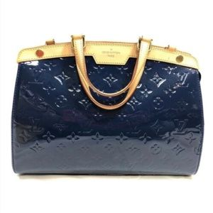 Authentic Louis Vuitton Handbag Blue Vernis Brea M